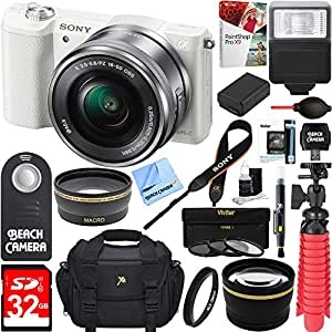 Sony Alpha a5100 HD 1080p Mirrorless Digital Camera White + 16-50mm Lens Kit + 32GB Accessory Bundle + DSLR Photo Bag + Extra Battery + Wide Angle Lens + 2x Telephoto Lens + Flash + Remote + Tripod