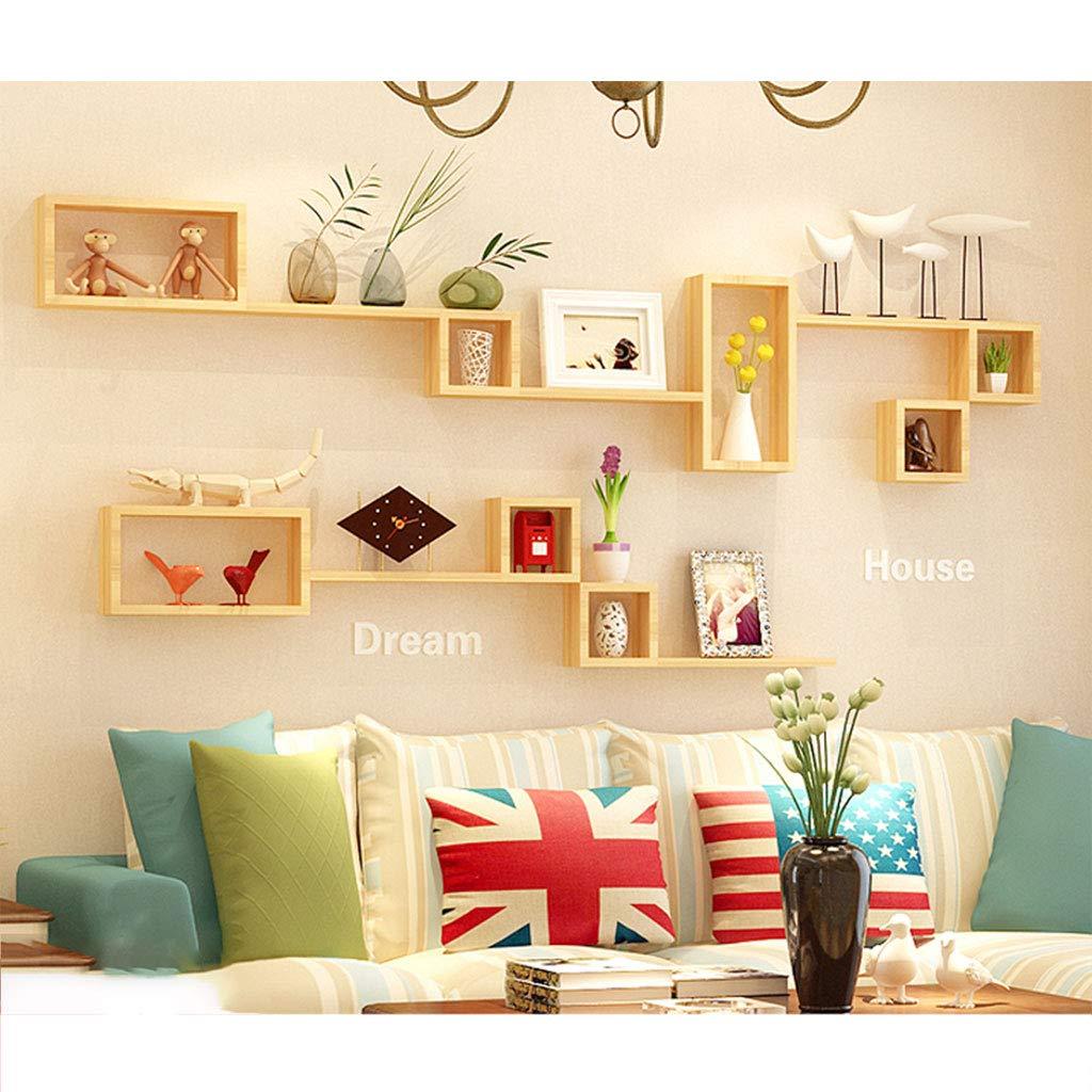 木製の壁の棚のリビングルームテレビの背景壁の装飾フレームベッドルームのパーティションクリエイティブ格子の壁掛け (色 : A) B07K1NBWQS A