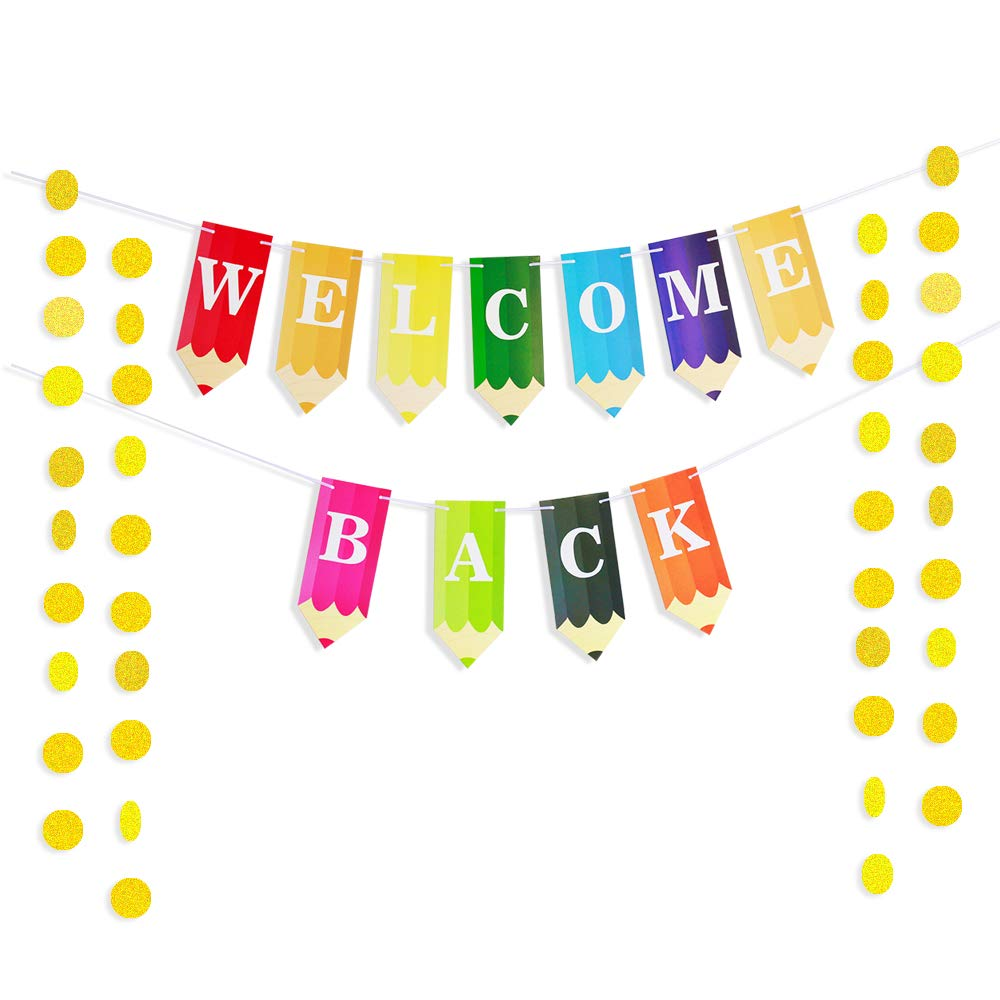 Welcome Back to School Students Banner Pencil Letters with 50pcs Circle Dots Garland for New Grade of Class Pennant Classroom Decorations Party Supplies First Day of School Decor Photo Props