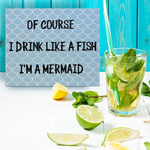 JennyGems Mermaid Home Decor - Stand Up Sign - Of Course I Drink Like A Fish I'm A Mermaid - Beach House Signage