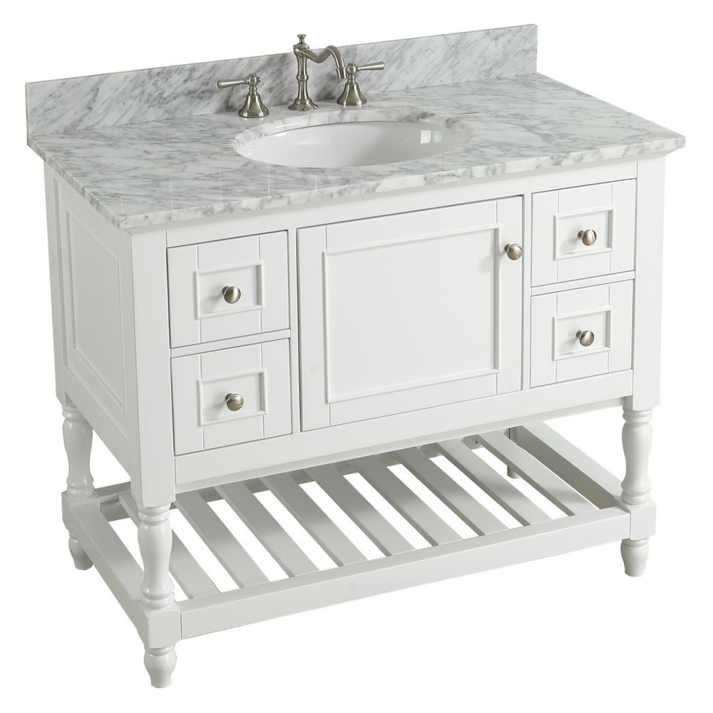 UrbanFurnishing.net - Silvia 42-Inch (42'') Bathroom Sink Vanity Set with White Italian Carrara Marble Top - White by UrbanFurnishing.net
