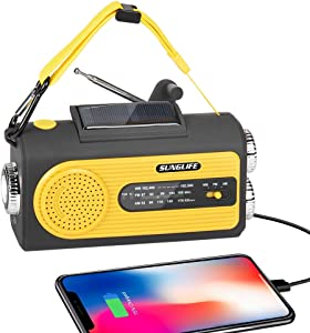 SUNGLIFE Solar Crank NOAA Weather Radio for Emergency with AM/FM, Flashlight, Reading Lamp, 2000mAh Power Bank USB Charger and SOS Alarm, Yellow