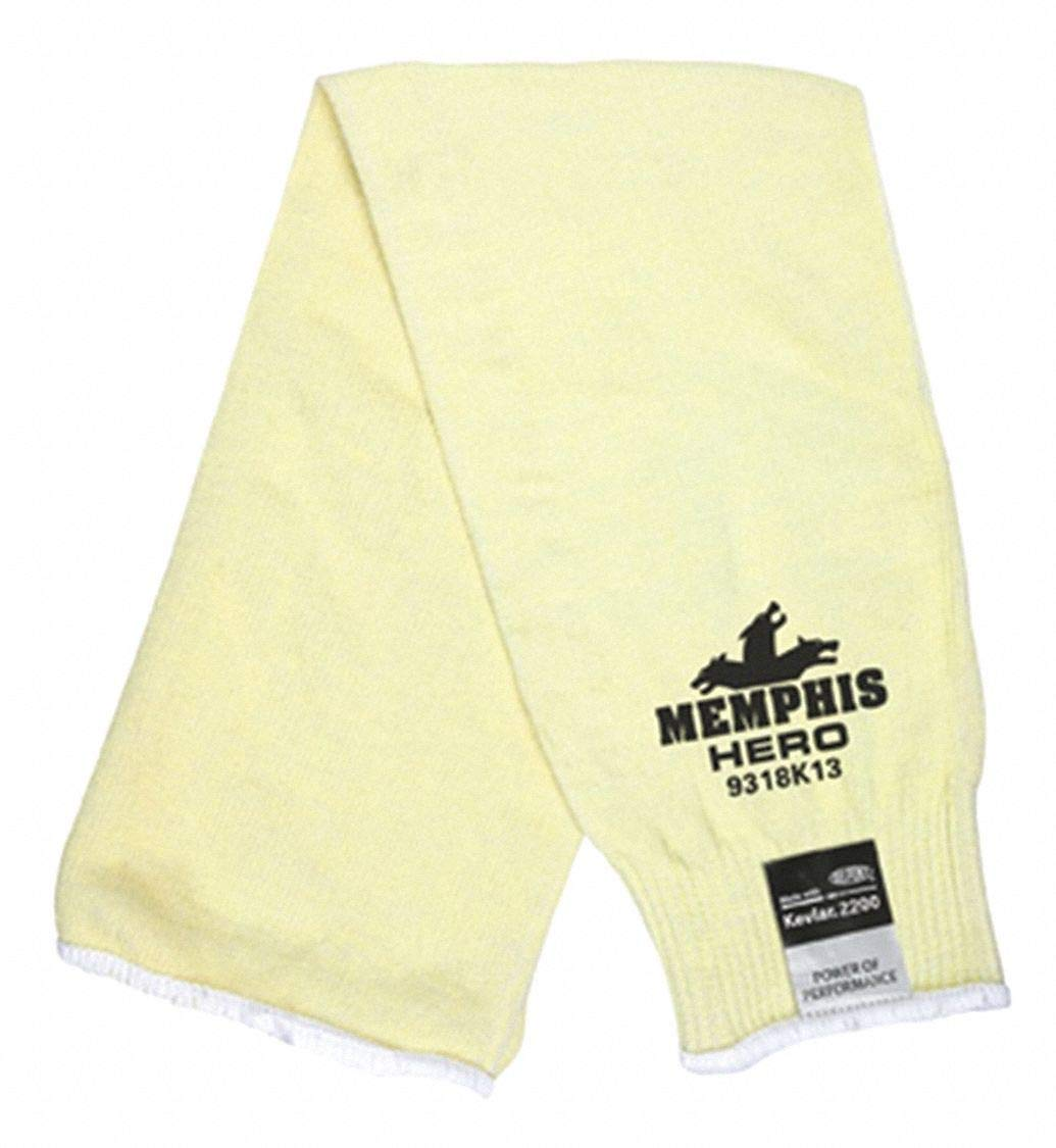 Kevlar Sleeve, 18''L, Elastic Cuff, Yellow, Sleeve Size: Universal pack of 5 by MCR Safety (Image #1)