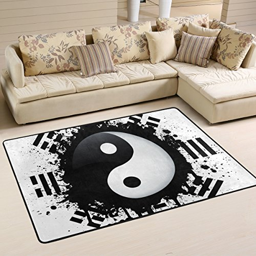LORVIES Black And White Yin Yang Area Rug Carpet Non-Slip Floor Mat Doormats for Living Room Bedroom 72 x 48 - Yin Yang Rug