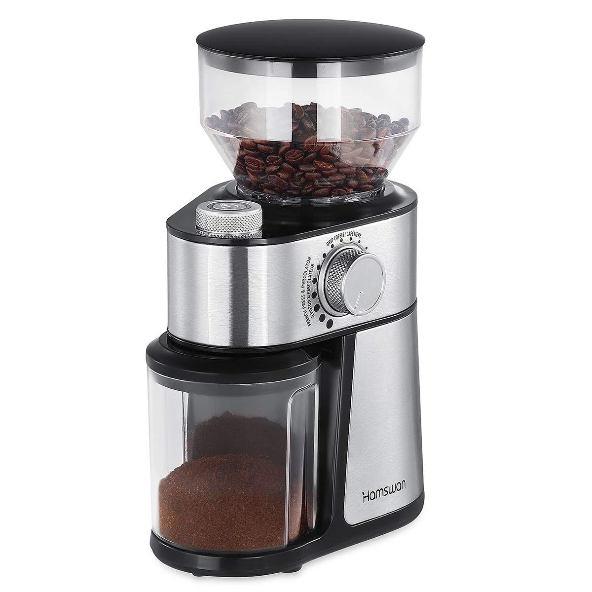 Molinillo de Café, [Regalos para Padre] HAMSWAN 200W Molinillo de Semillas Electrónico de Acero Inoxidable Con Fresa Plana para Semilla y Especia, ...