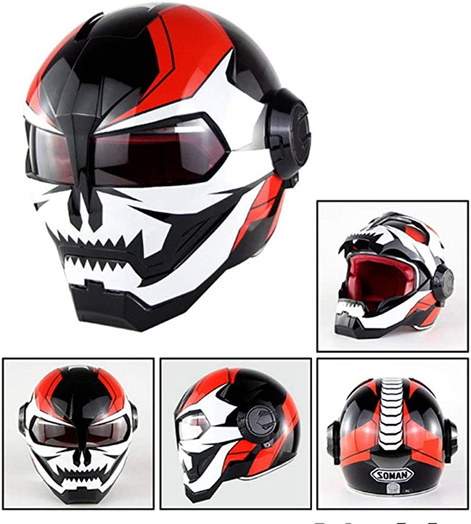 MENUDOWN Motorrad Helme,Motocrosshelme Full Face Touring Motorrad Harley Vintage Helm Klapphelme Rennhelm Motorhelm Iron Man ECE-Zertifizierung,Black-S:53~54CM Pers/önlichkeit Cool