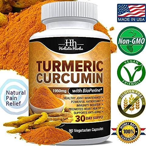 Holistic Herbs Turmeric Curcumin 1950mg with Bioperine 15mg and 95% Curcuminoids – 90 Capsules (Holistic Granules)