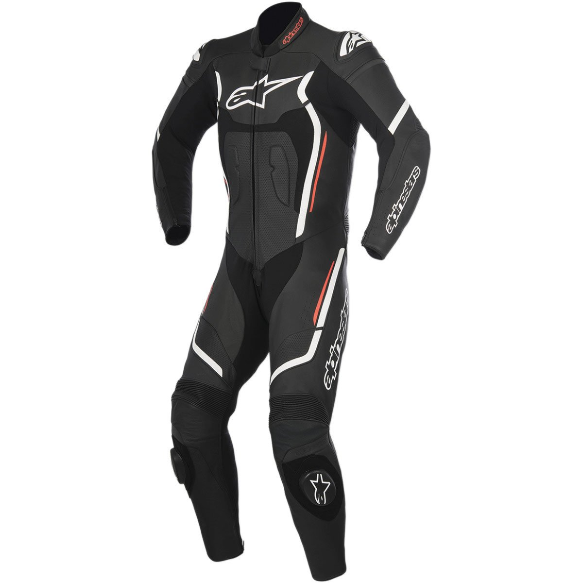 Alpinestars Montegi V2 Men's 1-Piece Street Motorcycle Race Suits - Black/White/Red / 56