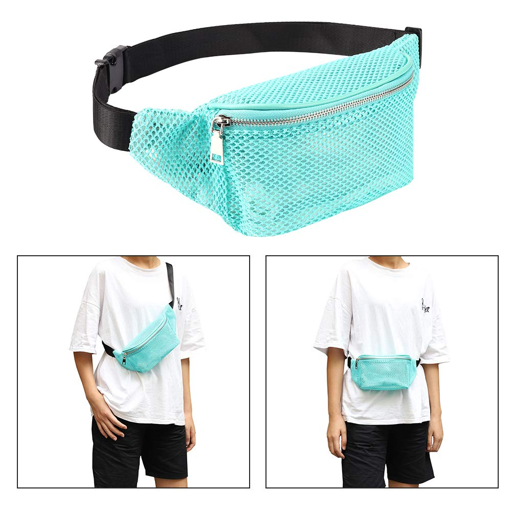 dd450b6b3686 LOPHORINA Mesh translucent Fashion Waist Bag Water Resistant Adjustable  Fanny Pack Unisex Green
