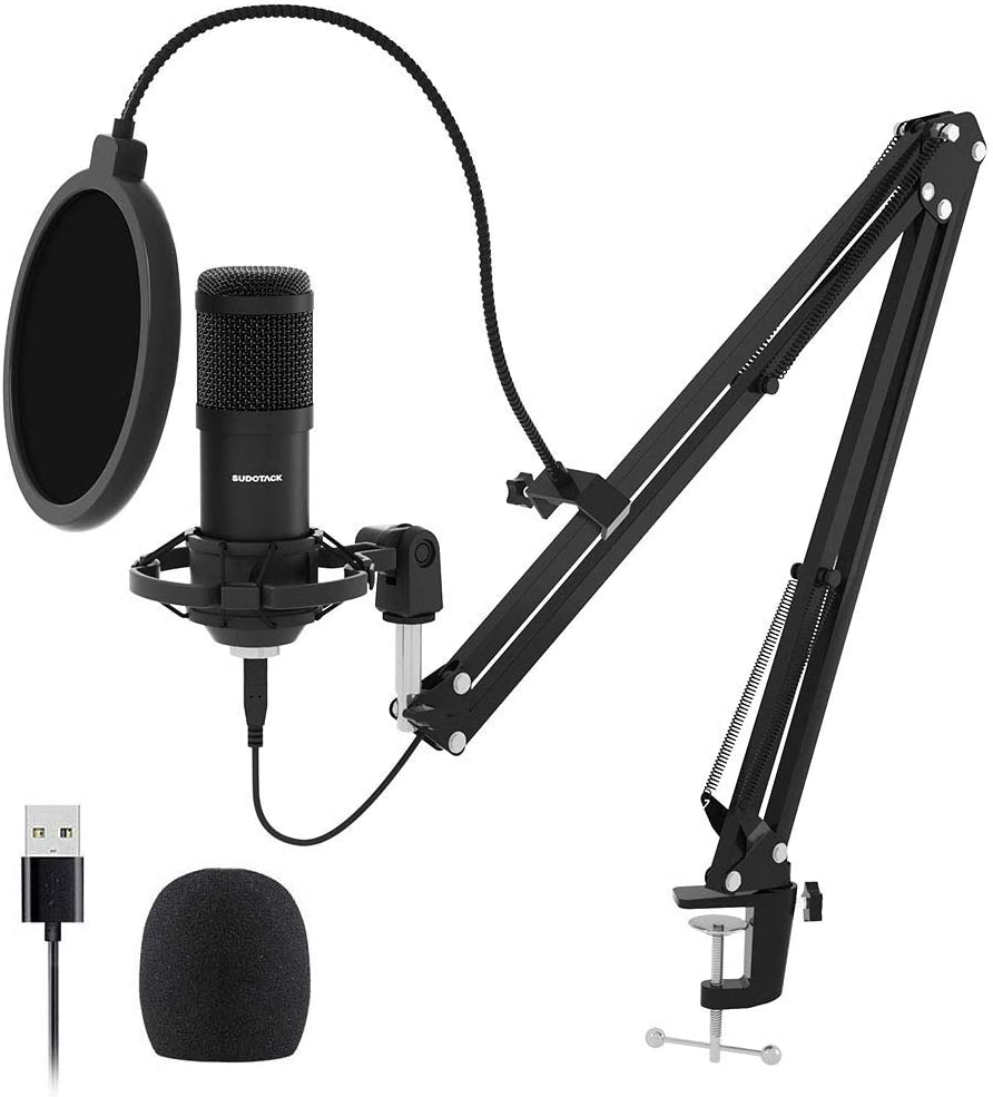 USB Streaming Podcast PC Microphone, SUDOTACK professional 192KHZ/24Bit Studio Cardioid Condenser Mic Kit with sound card Boom Arm Shock Mount Pop Filter, for Skype YouTuber Karaoke Gaming Recording: Musical Instruments