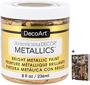 DecoArt Americana Decor Metallics 24K Gold Paint - 8oz Metallic 24K Gold Acrylic Paint - Water Based Multi Surface Paint for Arts and Crafts, Home Decor, Wall Decor, Gilding Paint & Touch Ups + E-book