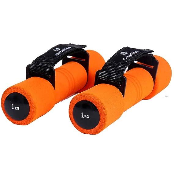 Mancuernas de aeróbic »Liona« / mancuernas de entrenamiento / pesas con correa de mano regulable / 1,0 kg, naranja: Amazon.es: Deportes y aire libre