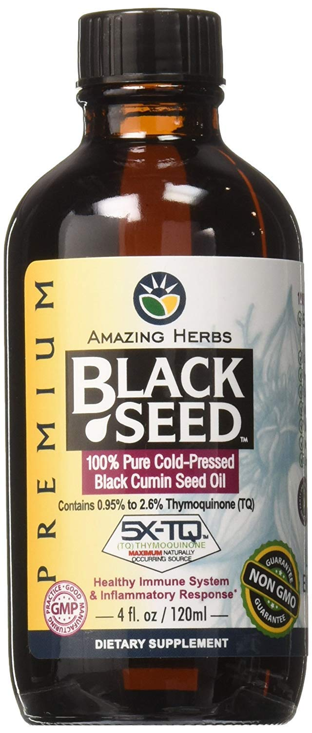 Amazing Herbs Premium Black Seed Oil, 4 Fluid Ounce (Pack - 2)