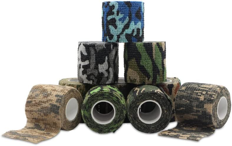 "Kingsea Adhering Stick Bandage,Camo Vet Wrap Tape Bulk 1"", 2"" inches x 15' Feet (10 Rolls) Assorted Camouflage Colors Outdoor Self Adhesive Adherent Veterinary Stick Hunting Gun Horse Grip Rap Tape"