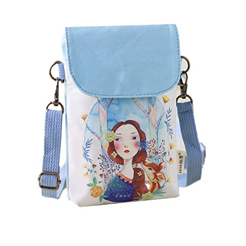0f92a9ade0a6 Abaddon Vintage Printed Handmade Women Mini Crossbody Bag Cellphone Pouch  Small Handbag Coin Purse (blue
