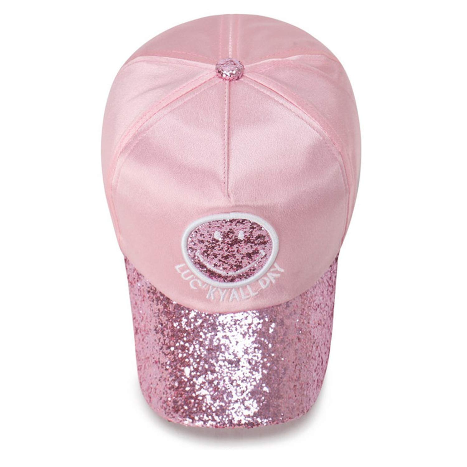 TokLask Embroidered Letter Shiny Sequin Baseball Cap for Glitter Travel Sunshade Hiphop Hat Cartoon Smile face Cap
