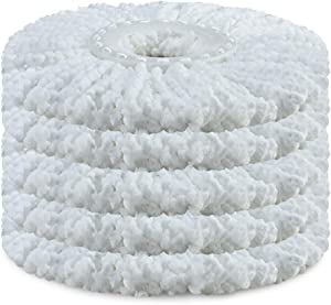 Amaou 5 Pack Microfiber Mop Heads Replacement Round Refill for 360 Spin Mop White Universal Standard Size 6.3 inch
