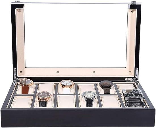 0LL Caja para Relojes 6/12/18/ Slot, Porta Relojes y Joyas, Caja para Relojes Madera Tapa de Cristal Organizador para Hombres o Mujeres (Color : Black (12 watchs)): Amazon.es: Hogar