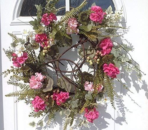 24-Inch 58158 Melrose International Pink Geranium Ivory Wreath