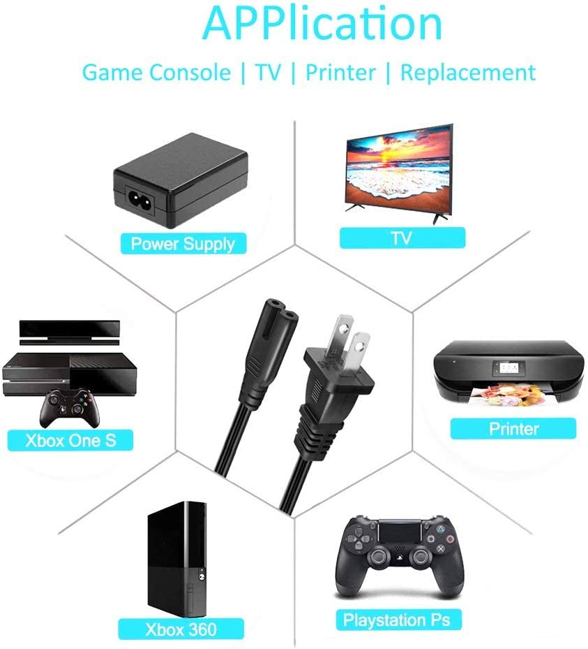6 Feet // 1.8 Meters Xbox One S Xbox One Printers PS4 2 Prong Figure 8 Power Cord // PA-14 FHAIHE UL LISTED 2-Slot To Standard Power Cord Dual Pin Non-Polarized Universal Replacement Wall Cable for PS3 Apple TV