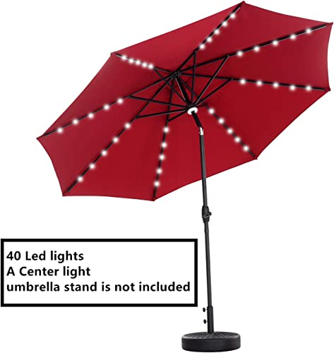 OVASTLKUY 10ft Solar LED Patio Umbrella 40 LED Lighted Outdoor Umbrella for Garden 10ft, Wine red