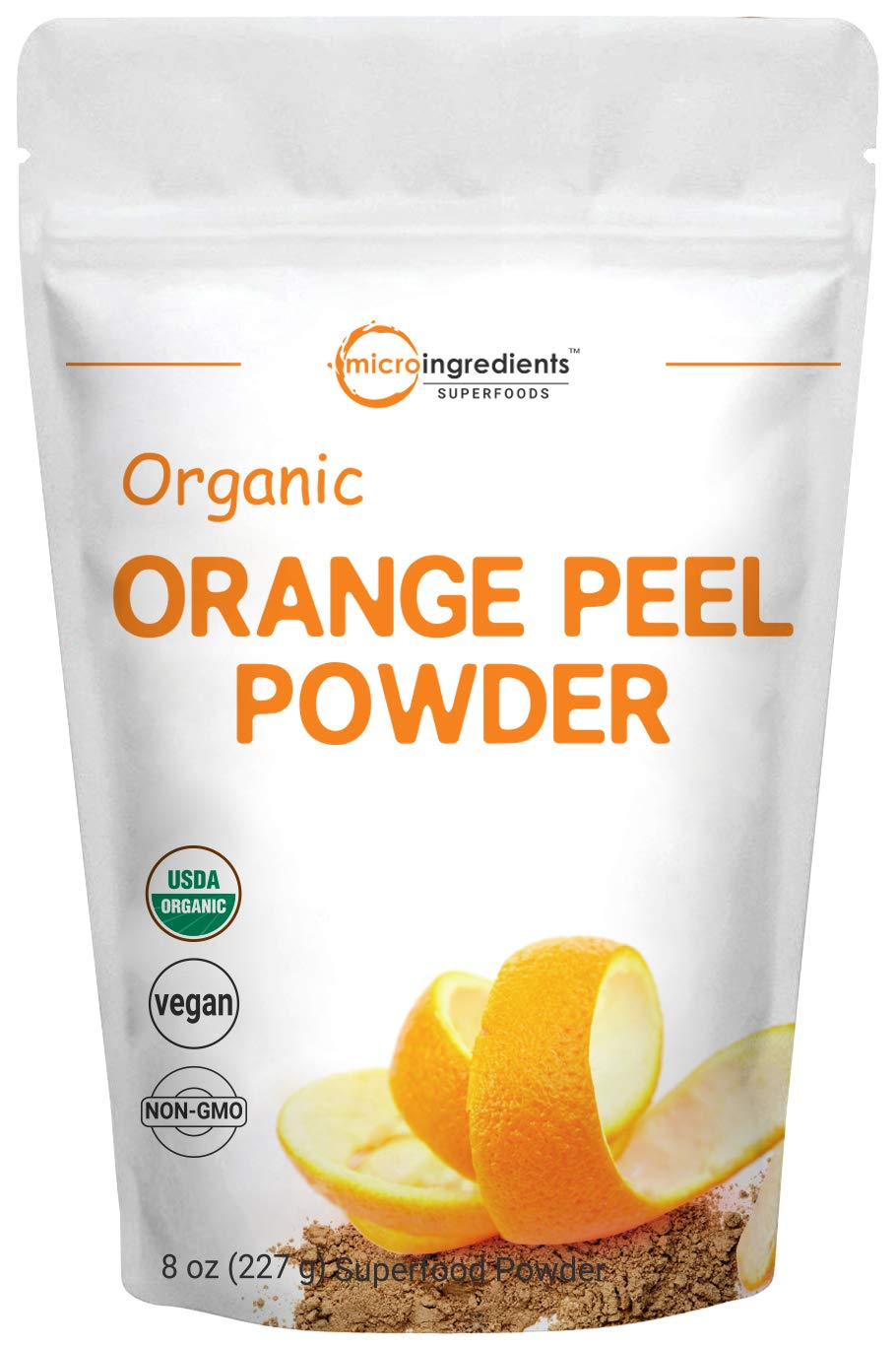 Organic Orange Peel Powder, 8 Ounce, Rich in Antioxidants and Immune Vitamin C for Immune System Booster, Best Flavor for Smoothie, Drinks, Coffee and Baking, No GMOs and Vegan Friendly