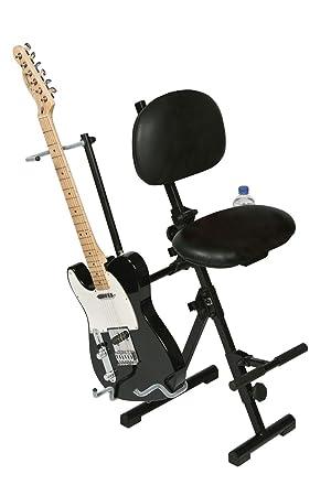 Guitarra, Guitarra silla, silla de guitarristas, guitarristas taburete, asiento para guitarrista, asistencia de marzo, piel sintética negro, plegable para ...