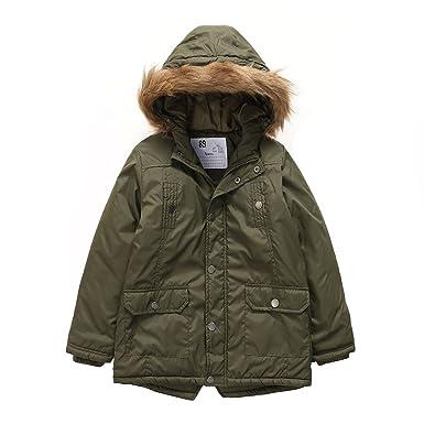 c01c34d06 Amazon.com  PHIBEE Boys  Winter Windproof Cotton Faux Fur Hooded ...