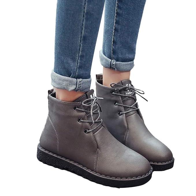 MYMYG Botas Plano de Mujer con Cordones Botines Zapatos clásicos de Martain de Invierno de otoño