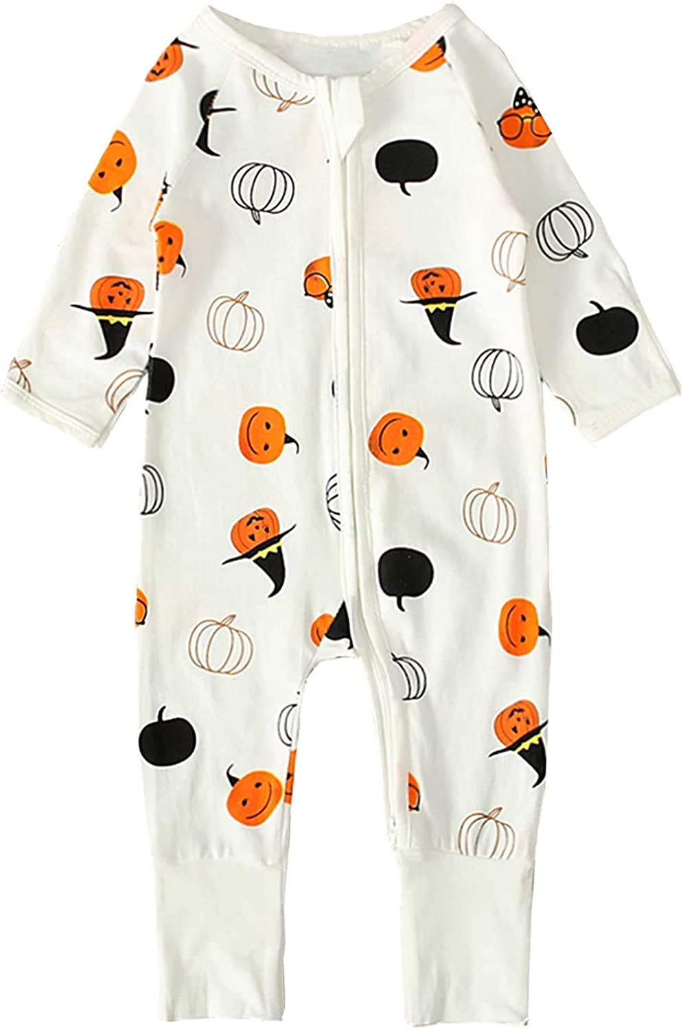 Baby Boys Girls Halloween Long Sleeve Romper Jumpsuit//Skirt Pumpkin Ghost Printed Pajama Outfits