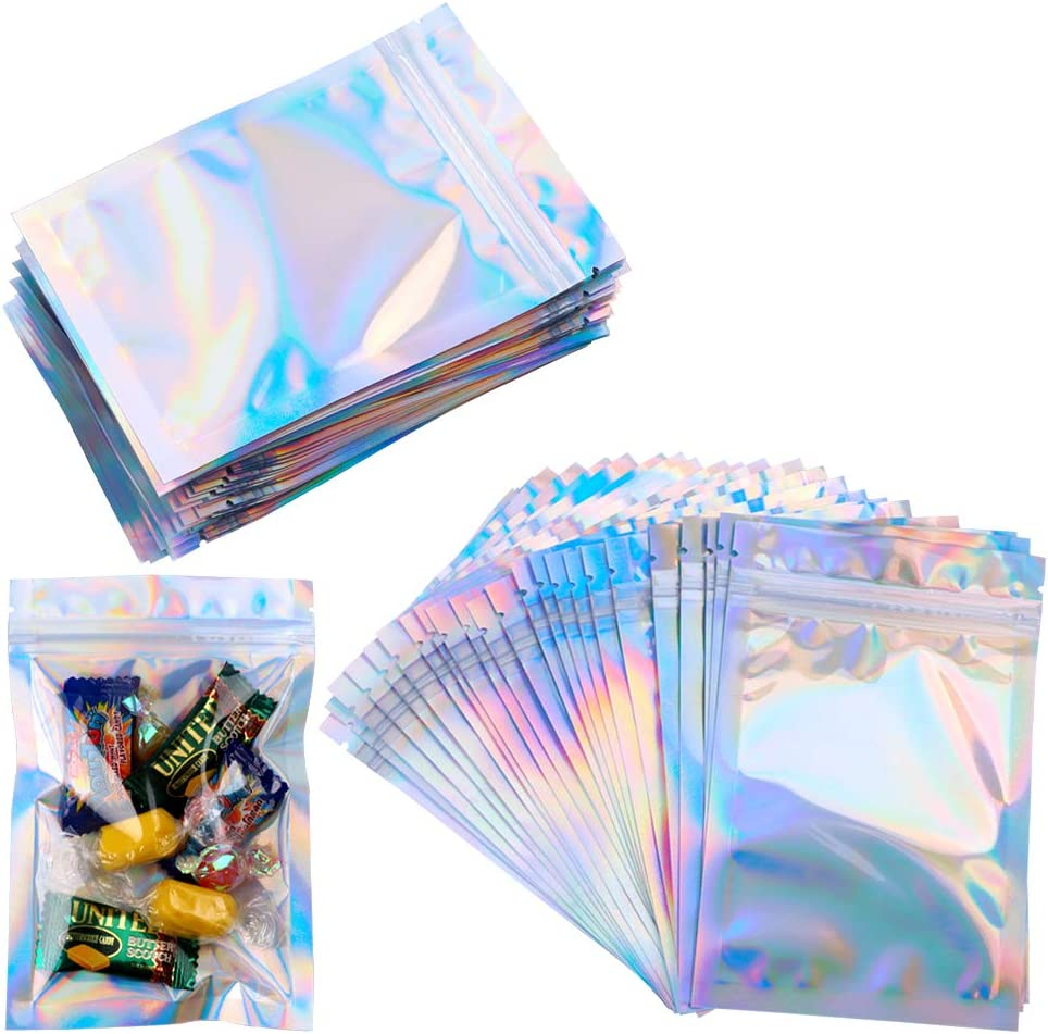 Mylar Zip Lock Bags,100 Pcs Clear Golden Resealable Mylar Bags,Aluminum Foil Bags Durable Double-Sided Metallic Foil Mylar Flat Ziplock Food Storage Bags,Valve Zipper Pouches for Candy Cookies