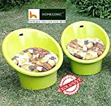 Homegenic National Tub Chair With Cushion Set Of 02 (Yellow)