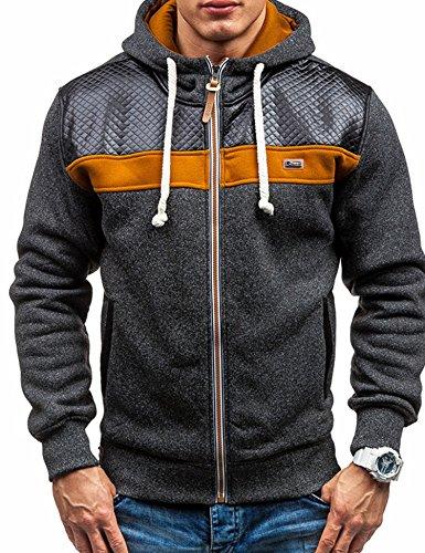 Modfine+Men%27s+Long+sleeve+Zip-Up+Casual+Fleece+Hoodie+Coat+Sweatshirt+Jacket%28Black%2CLarge%29