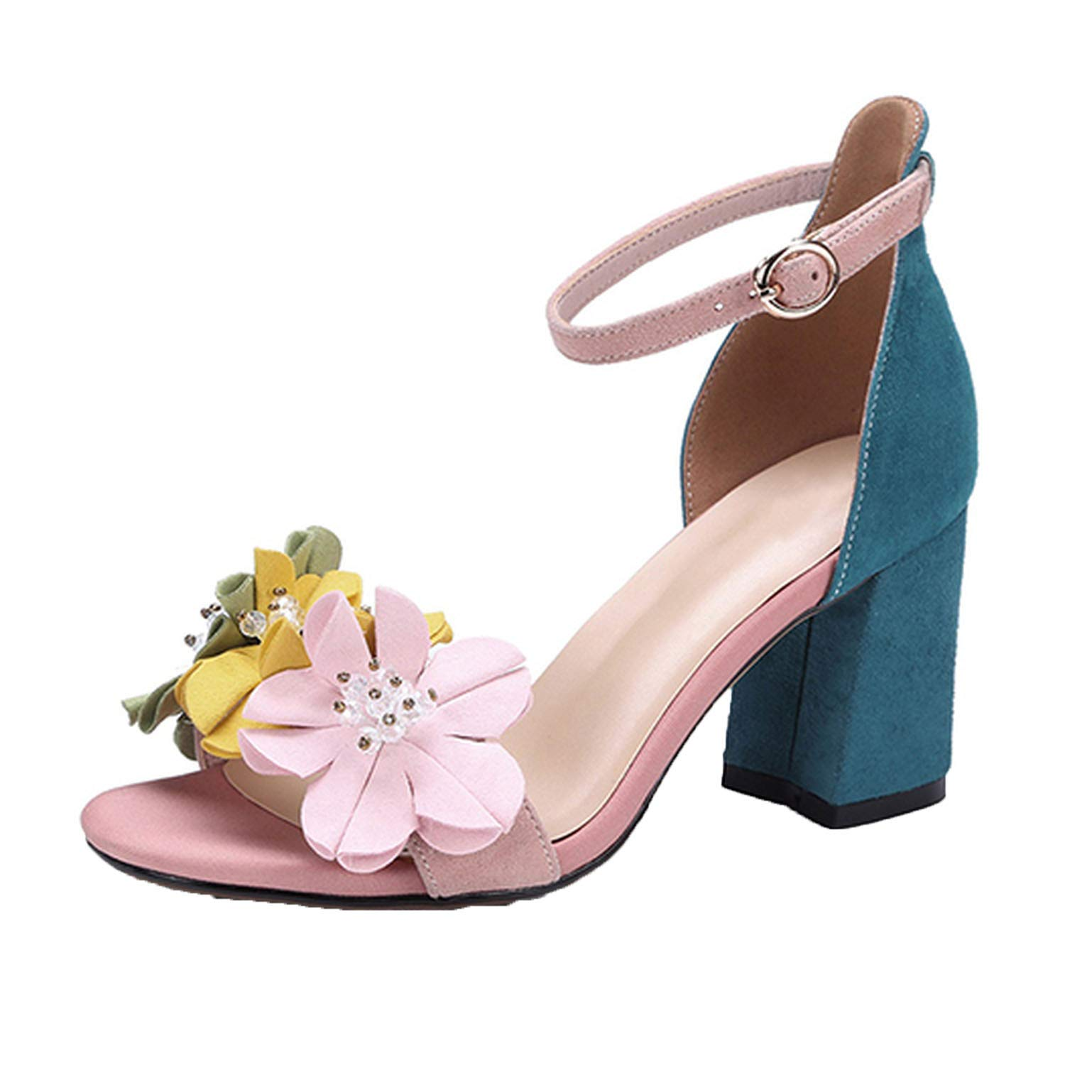 Amazon Elegant Shoes Open Toe Pink Flower Ankle Strap Nice
