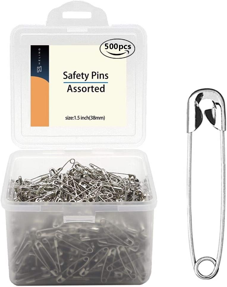 500 PCS Safety pins Large, 1.5 inch Safety Pins Bulk, for Home, Office Use, Sewing Pins, Fabric, Fashion, Craft Pins, Marathon, First Aid Kit, Diaper Pins,Size 2(1.5inch)