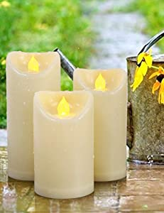 HOME MOST Set of 3 Outdoor LED Pillar Candles Battery Operated 3x5 3x6 3x7 -Ivory Flameless Candles Timer Outdoor Candles Waterproof -Unscented Electric Plastic Candles Pillar Candles Outdoor Decor A1