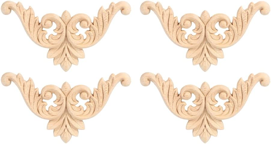 GLOGLOW 4Pcs Furniture Wood Appliques Rubber Wood Carved Molding Corner Onlay Applique Furniture Flower Shape Unpainted Decoration(8 x 8cm/3.15 x 3.15in)