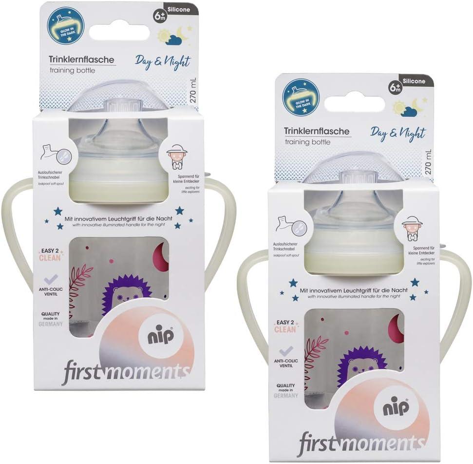 Auslaufschutz 6 Monate+ Girls BPA frei NIP Trinklernbecher Soft-Silikon Schnabel 270 ml Trinklernflasche Doppelpack LEUCHTEND 2er Pack made in Germany