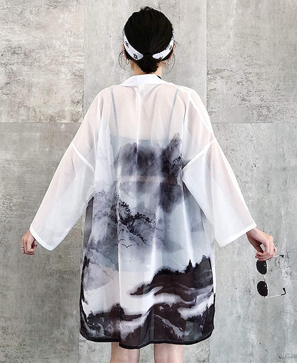 Kimono da donna con motivo giapponese LAI MENG maniche a 3//4 giacca leggera EU 34-46