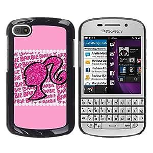 Paccase / SLIM PC / Aliminium Casa Carcasa Funda Case Cover - Silhouette Woman Glitter Bling - BlackBerry Q10