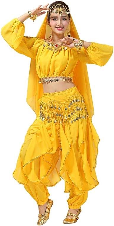 Deylaying 4 Piezas Danza del Vientre Disfraz para Mujer Halloween ...