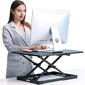 Standing Desk Converter JENOSWEIN Stand Up Desk Adjustable Height Desktop Monitor Riser for Laptop Office Computer Workstation (26 INCH)
