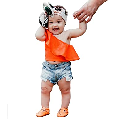 lurryly 2018 2pcs baby girls boys kids clothing off shoulder topsdenim shorts outfits