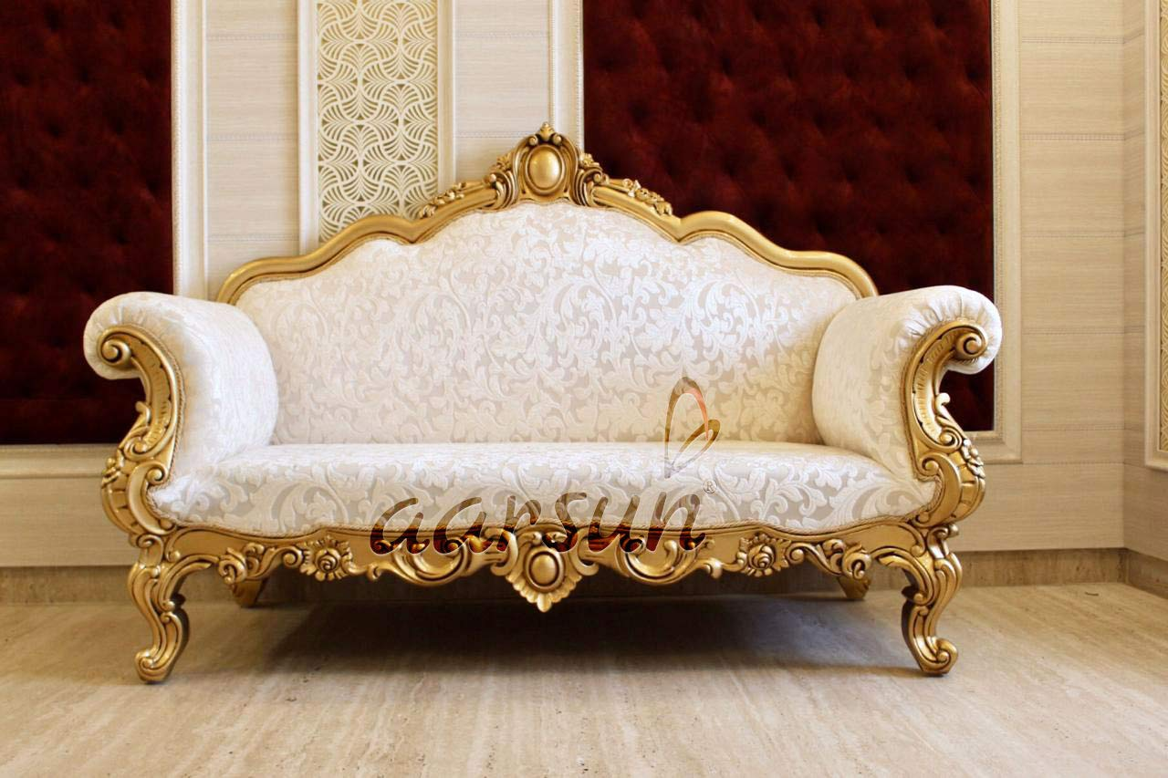 Aarsun Royal Couch 2 Seater Sofa Living Room Furniture Classic Victorian Style Design Handcrafted In Teak Wood Antique Gold Paint And Beige Cream Fabric Amazon In Furniture