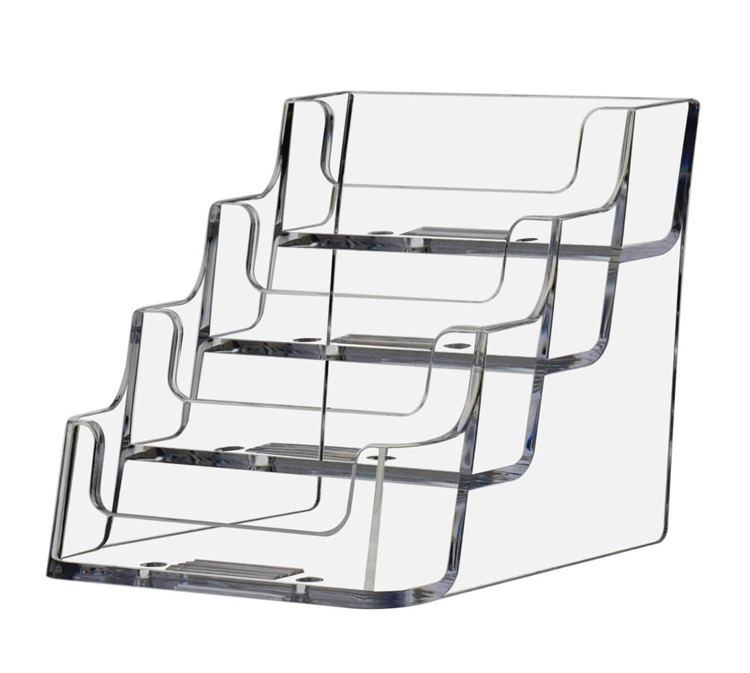 "Deflecto Business Card Holder Display, Multi-Compartment, 3-7/8""W x 3-1/2""H x 4-1/8""D, 4 Compartments, Clear (70841)"