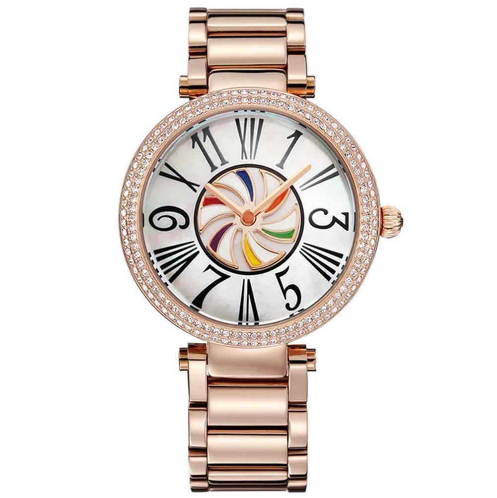 Damen Diamant-Stahlband-Quarz-Uhr