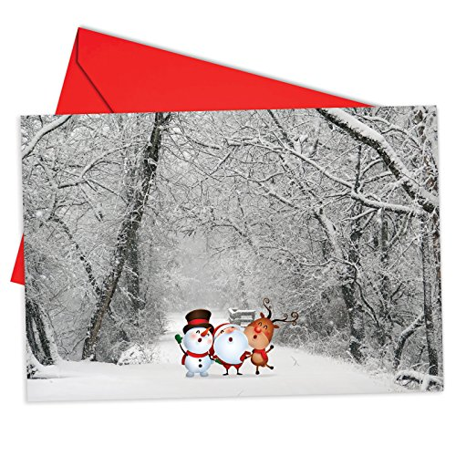 12 'Santa Paths' Boxed Christmas Cards with Envelopes 4.63 x 6.75 inch, Wintry Scenes and Cartoon Santa Claus Christmas Cards, Snowy Landscapes with Santa Drawings Holiday Notes B6716BXSG