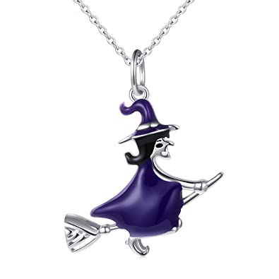 Amazon 925 sterling silver halloween charm jewelry witch on 925 sterling silver halloween charm jewelry witch on flying broom pendant necklace for women 18quot aloadofball Gallery