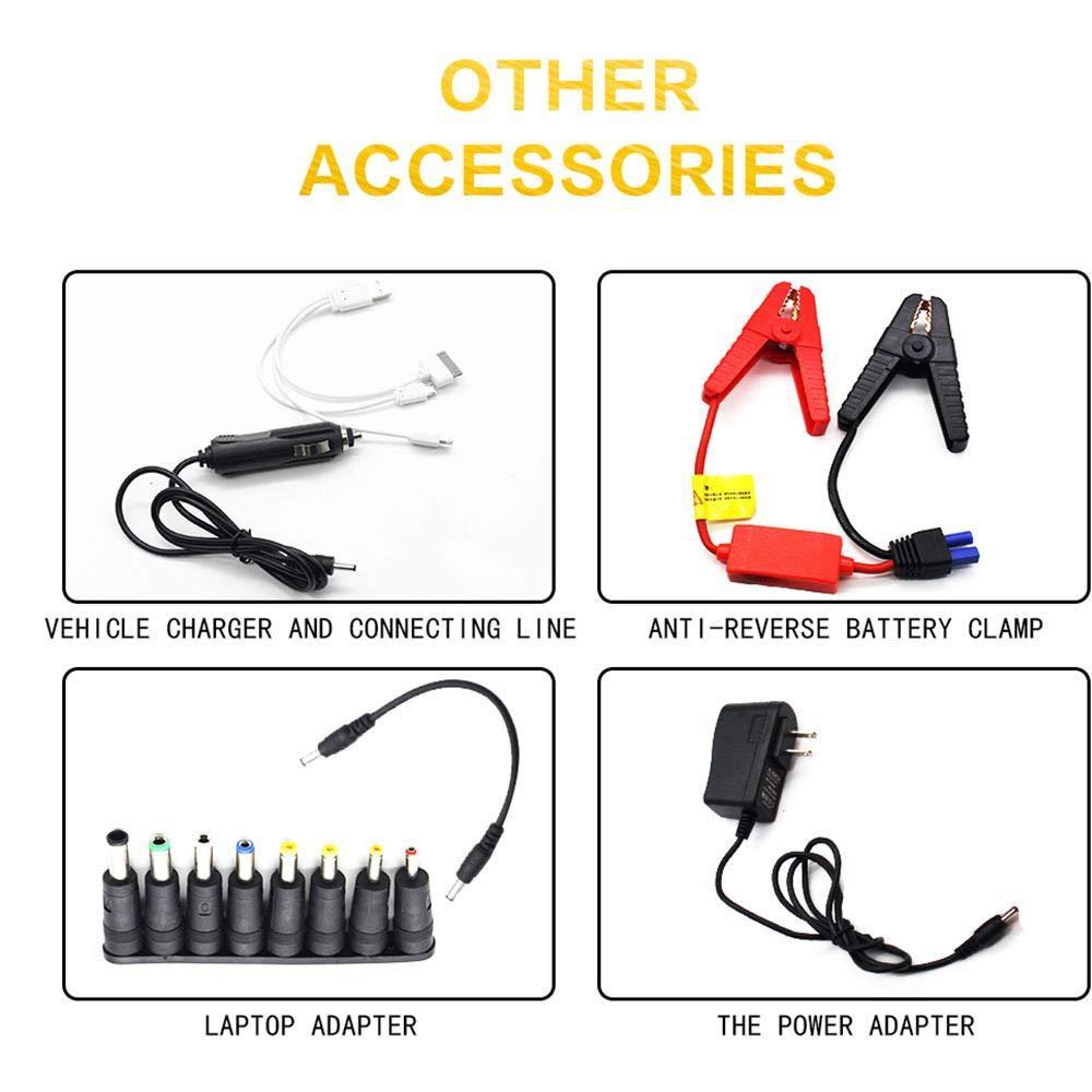 tragbarer Jump-Pack Auto-Battery-Booster LCD-Bildschirm und Taschenlampe 12-V-Auto-Jumper mit Zwei USB-Ports Lesgos Auto-Starthilfe