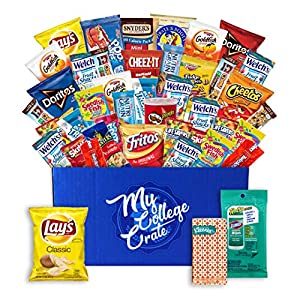 My College Crate Small Ultimate Snack Care Package for College Students - Variety Assortment of Cookies, Chips & Candies - 40 Snacks + 2 Personal Care Items - The Original College Survival Kit